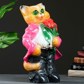 "Копилка ""Кот большой с тюльпанами"" малиновый 20х23х41см"