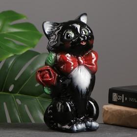"""Копилка """"Котик малый с розой"""" чёрный 20см"""