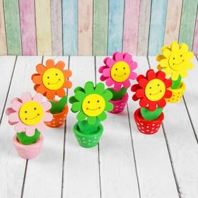 Визитница-прищепка «Цветочек улыбка с рисунком», цвета МИКС