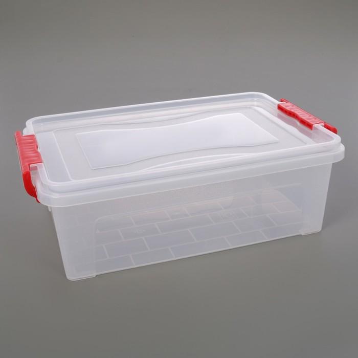 Контейнер для хранения с крышкой 6,3 л, 36×23,5×11,5 см, цвет прозрачный - фото 308334983