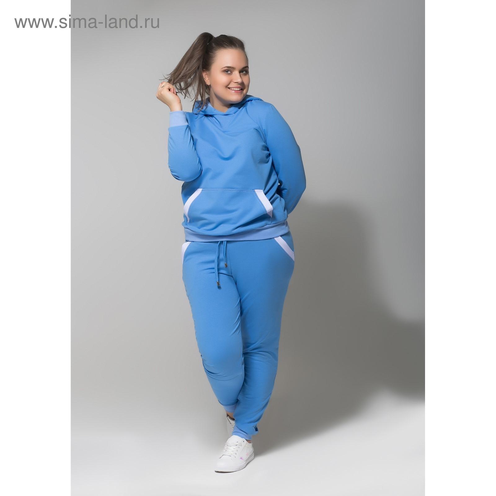 eccfcdb51a1f Костюм спортивный с капюшоном женский MINAKU, размер 54, цвет голубой