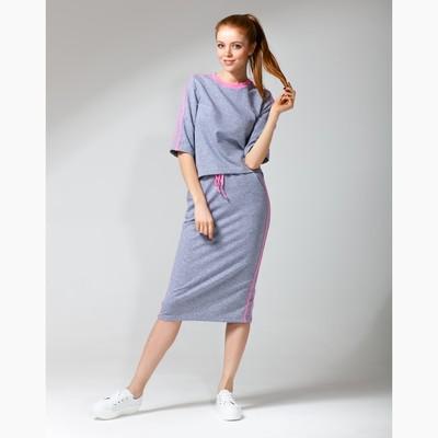 Костюм с лампасами женский толстовка+юбка MINAKU, размер 44, цвет серый