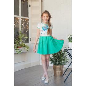 Платье для девочки, рост 146 см, цвет ментол/кремовый Л910-3914