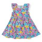 Платье для девочки, рост 80 см, цвет бирюзовый, принт цветы Л916