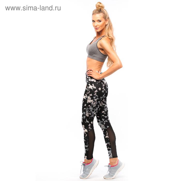 Легинсы женские спортивные 89190 цвет чёрный/серый, размер 40-44 (S/M)