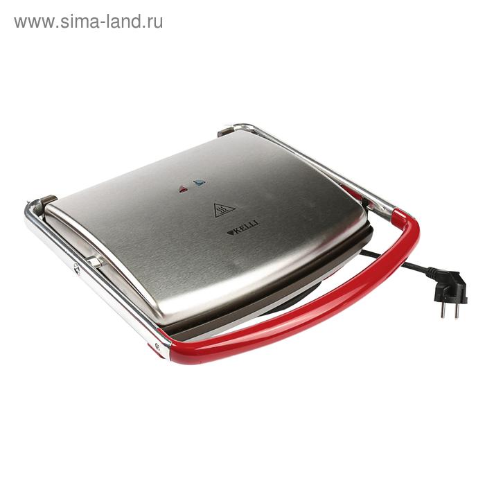 Сэндвичница KELLI KL-1351, 1800 Вт, антипригарное покрытие, серебристый
