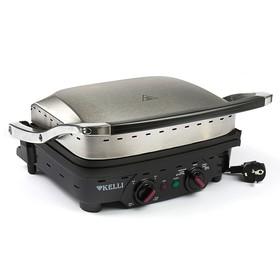 Гриль электрический KELLI KL-1353, 2200 Вт, антипригарное покрытие, серебр.