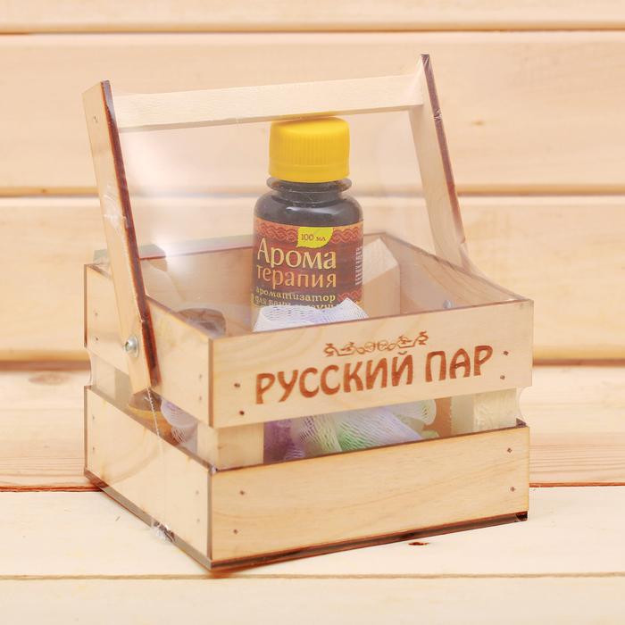 """Банный набор в ящике """"Русский пар"""": 2 аромамасла, ароматизатор, мочалка"""