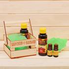 "Банный набор в ящике ""Жаркая банька"": 2 аромамасла, ароматизатор, мочалка"