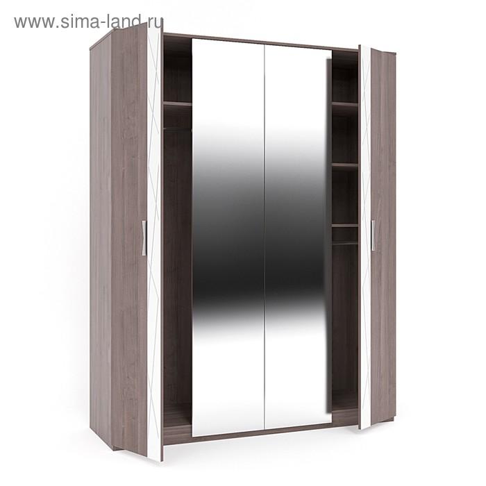 Шкаф 4-х дверный Диаманте, 1698х566х2176, Ясень шимо темный/Фрост белый