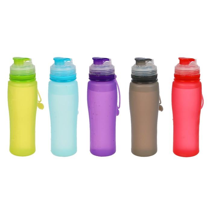 Бутылка для воды 750 мл, мерная шкала, силикон, матовая, микс, 8х26 см