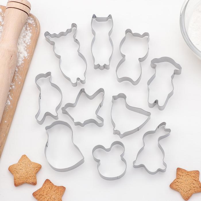 """Набор форм для вырезания печенья """"Звери"""", 10 шт - фото 308034499"""