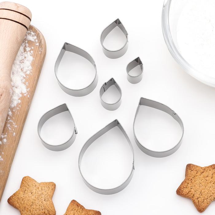 """Набор форм для вырезания печенья """"Капля"""", 7 шт"""
