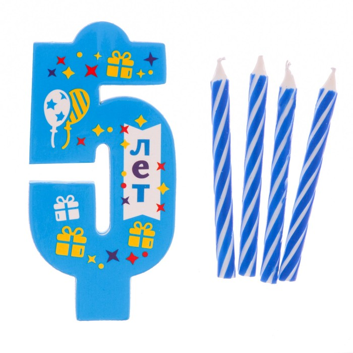 """Свеча в торт EVA цифра 5 """"С днем рождения"""" - фото 35609251"""