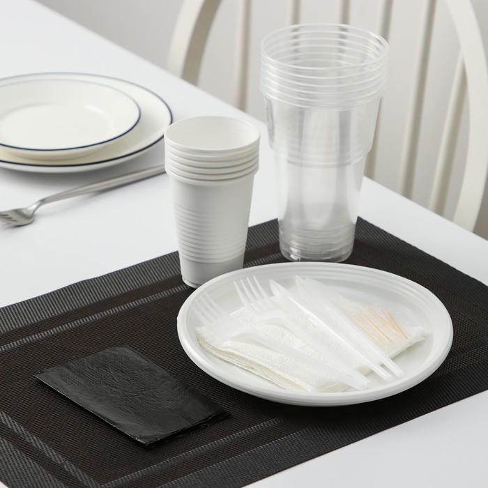 Набор для пикника «Шашлычный №1», 6 персон, цвет белый/чёрный