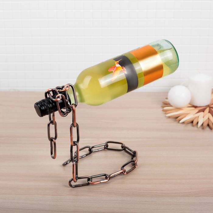 Подставка для бутылки «Цепь», 8,5×13×19 см, цвет коричневый