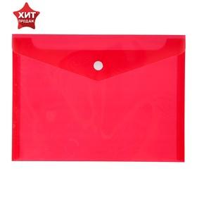 Папка-конверт на кнопке А5, 180 мкм Calligrata, красная