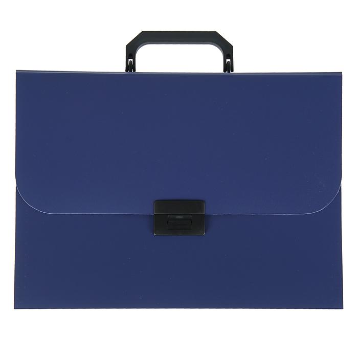 Папка-портфель А4, 7 отделений Calligrata, 700 мкм, песок, синяя - фото 418336532