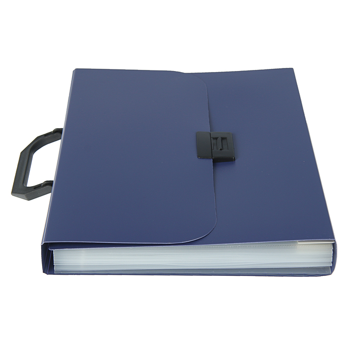Папка-портфель А4, 7 отделений Calligrata, 700 мкм, песок, синяя - фото 418336533