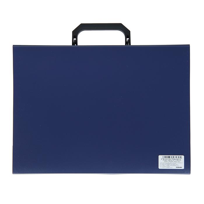 Папка-портфель А4, 7 отделений Calligrata, 700 мкм, песок, синяя - фото 418336534