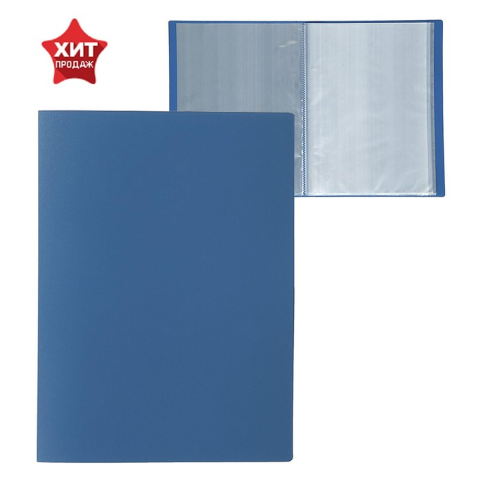 Папка с 40 прозрачными вкладышами А4, 500 мкм, Calligrata, песок, синяя