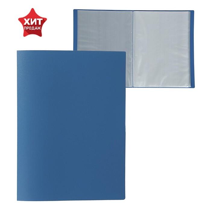 Папка А4, 60 прозрачных вкладышей, 500 мкм, Calligrata, песок, синяя