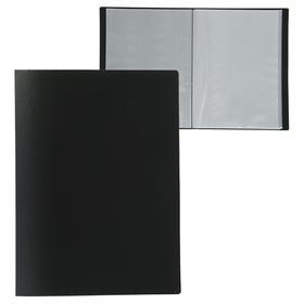 Папка А4, 60 прозрачных вкладышей, 500 мкм, Calligrata, песок, чёрная
