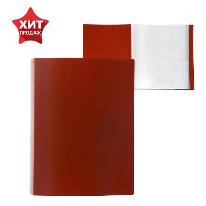 Папка со 100 прозрачными вкладышами А4, 700 мкм, Calligrata, песок, красная