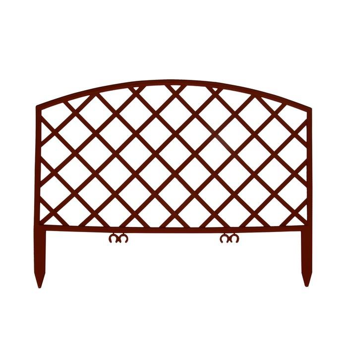 Ограждение декоративное, 35 × 220 см, 5 секций, пластик, коричневое, ROMANIKA, Greengo