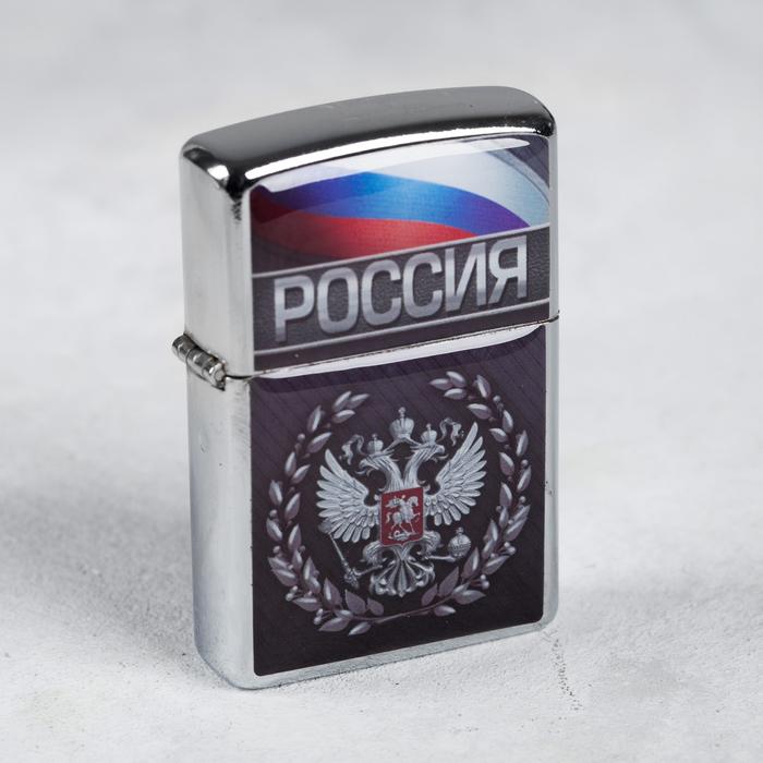"""Зажигалка бензиновая """"Россия"""", 3,5 х 5,7 см"""
