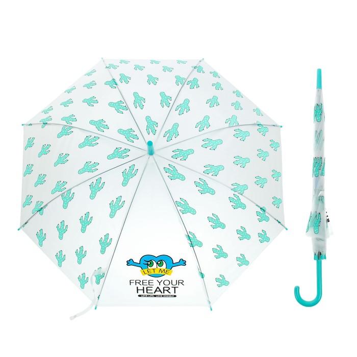 """Зонт детский полуавтоматический """"Кактусы"""", r=45см, цвет прозрачный/зелёный"""