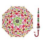 "Umbrella baby semi-automatic ""Coloured elephants"", r=33 cm, color red, length of sticks: 66 cm"