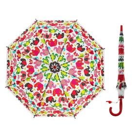 Зонт детский полуавтоматический «Цветные слоники», r=33 см, цвет красный, длина трости: 66 см