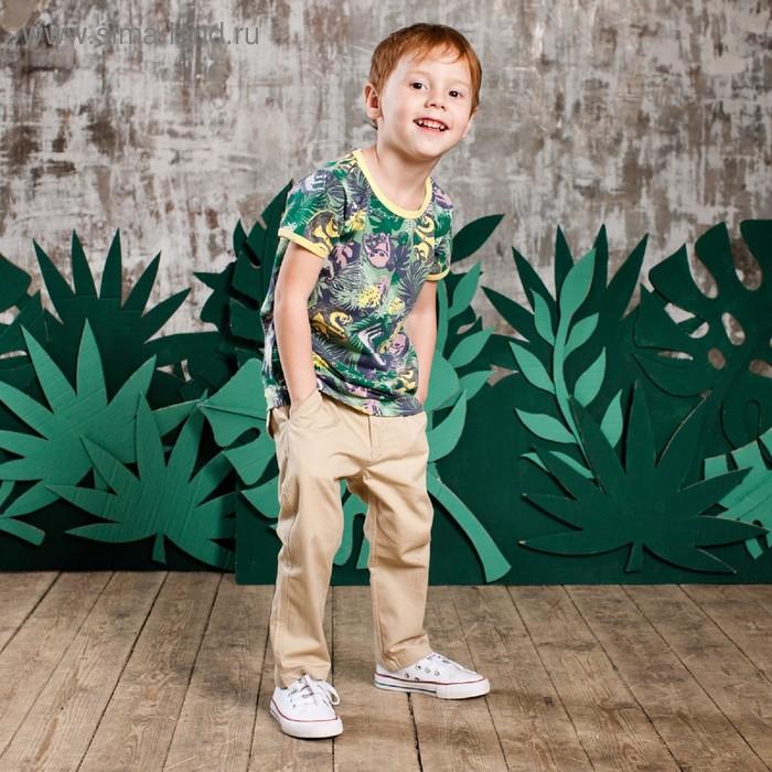 Футболка для мальчика, рост 128 см, цвет зелёный набивка джунгли 132-005-13