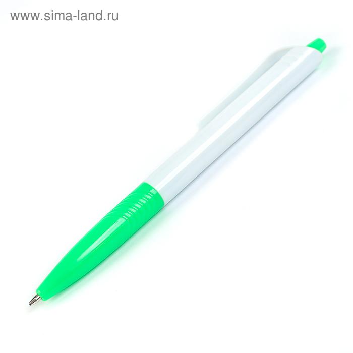 Ручка шариковая, автоматическая, корпус белый с зелёным держателем,стержень синий 0.5 мм