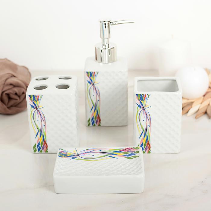 """Набор аксессуаров для ванной комнаты, 4 предмета """"Линии"""""""