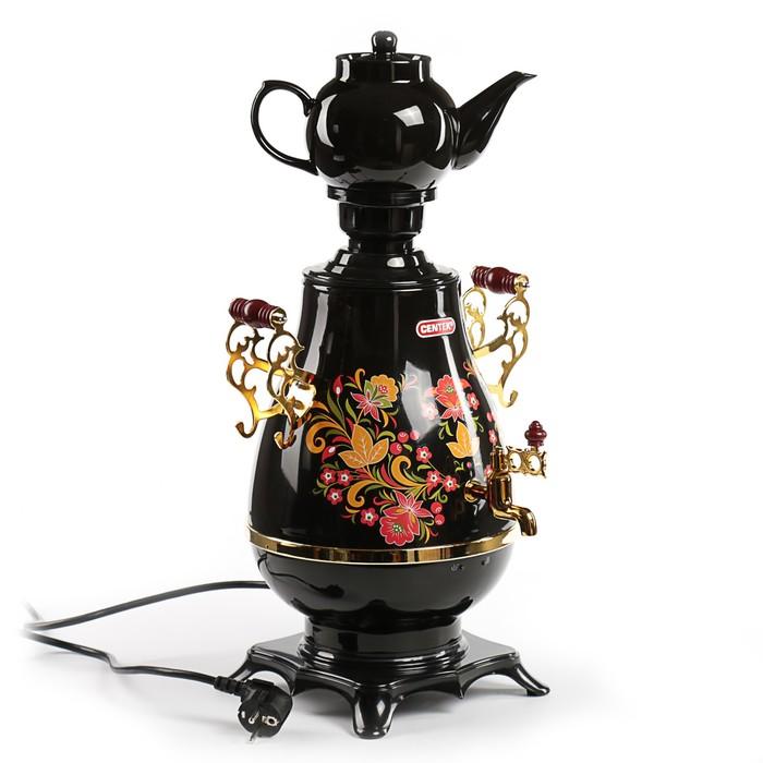 Самовар Centek CT-0092 B, 2300 Вт, 4 л, LED индикатор, керамический заварник, черный-золото