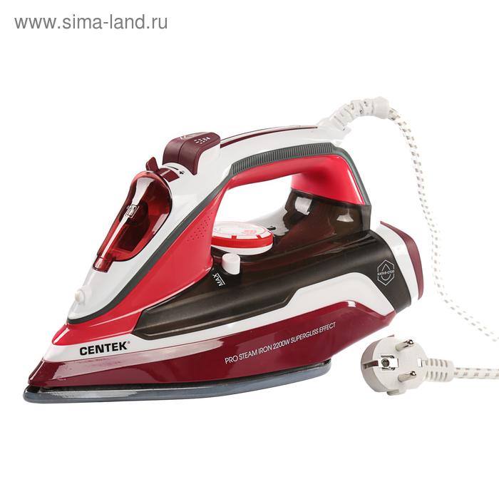 Утюг Centek CT-2352, 2200Вт, эмалированная подошва, паровой удар, самоочистка, красный