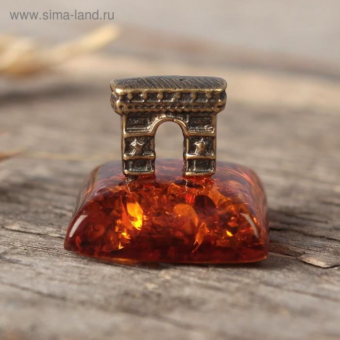 """Сувенир из латуни и янтаря """"Ворота"""""""