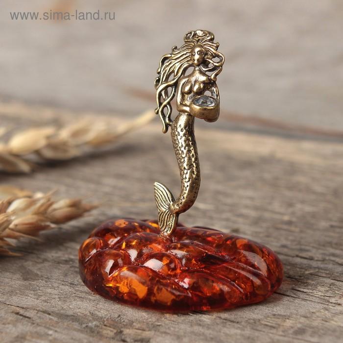 """Сувенир из латуни и янтаря """"Русалка"""""""