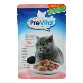 Влажный корм PreVital Naturel для кошек, форель в желе, пауч 85 г