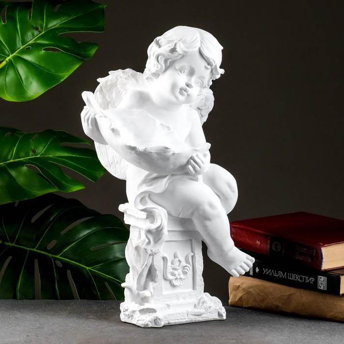 "Фигура ""Ангелочек с чашей"" белый, 13х15х43см"