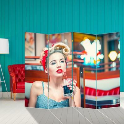 """Ширма """"Девушка с коктейлем"""", 200 × 160 см"""