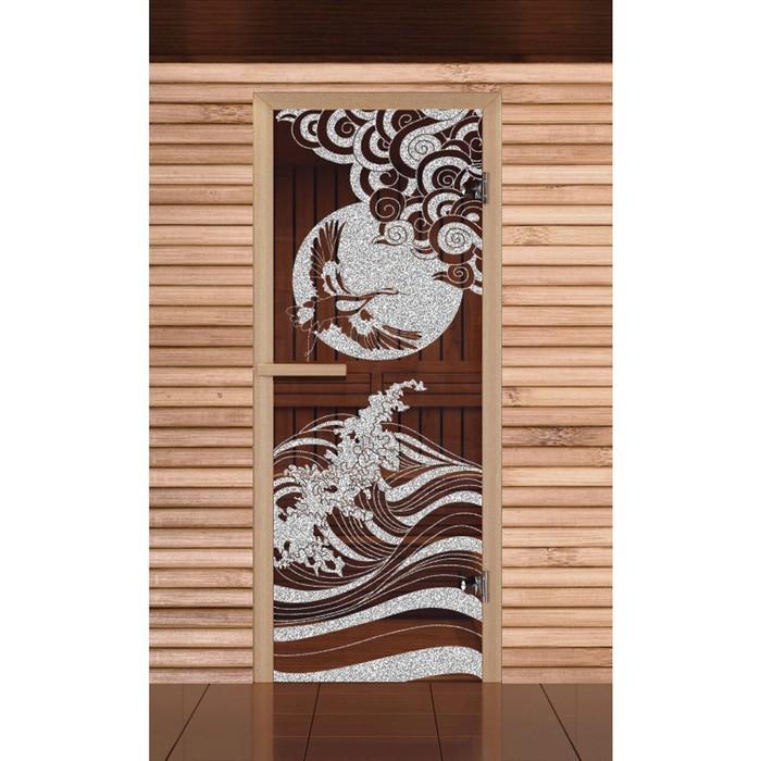"""Дверь для бани и сауны """"Журавль"""" бронза, 6мм, УФ-печать, 190х70см, Добропаровъ"""
