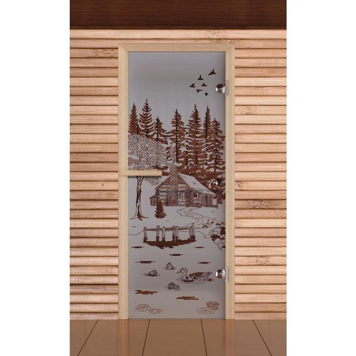 """Дверь для бани и сауны """"Банька в лесу"""", сатин, 6мм, УФ-печать, 190х70см, Добропаровъ"""