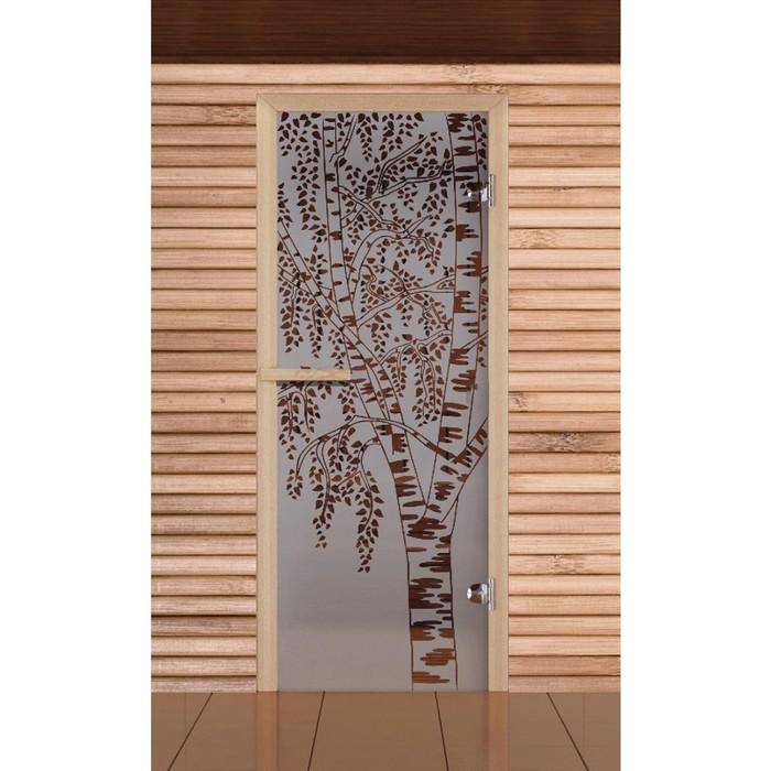 """Дверь для бани и сауны """"Берёзка"""" сатин, 6мм, УФ-печать, 190х70см, Добропаровъ"""