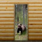 """Дверь для бани и сауны """"Мишка в лесу"""", 190 х 70 см, с фотопечатью 6 мм Добропаровъ"""