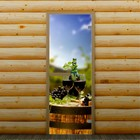 """Дверь для бани и сауны """"Бокалы с вином"""" 190 х 70 см, с фотопечатью 6 мм Добропаровъ"""