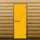 """Дверь для бани и сауны """"Перья"""", 190 х 70 см, с фотопечатью 6 мм Добропаровъ"""
