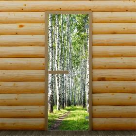 """Дверь для бани и сауны """"Берёзовая роща"""", 190 х 70 см, с фотопечатью 6 мм Добропаровъ"""